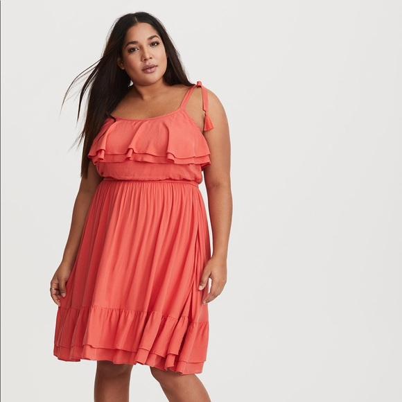 704f967bd86 NWT Coral Ruffle Challis Dress